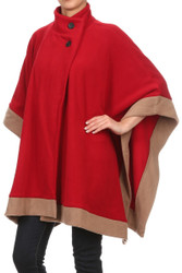 S1323 Contrast Hem Rectangular Fleece Winter Poncho With Buttons (Unit: Piece) Burgundy Red