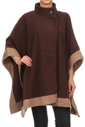 Wholesale Winter Poncho S1323 Winter Fleece Cape Poncho with Buttons Brown