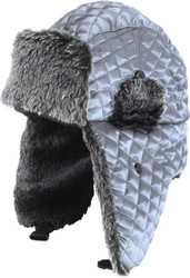 H1263 Wholesale Womens Winter Quilted Metallic Satin Trooper Trapper Hat Silver