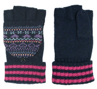 Wholesale Flip Top Fingerless Gloves Navy/Fuchsia