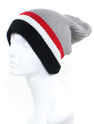 H4228 - Winter Double Layers Striped Reversible Beanie