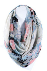 S5046C - Spring Floral Printed Infinity Scarf Cream / Blue