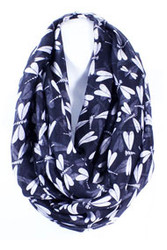 S5061C-BL  Lightweight Blue Dragonfly Print Infinity Scarf