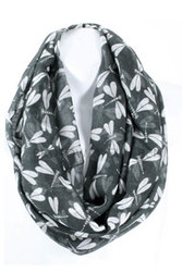 S5061C-GR  Lightweight Olive Green Dragonfly Print Infinity Scarf