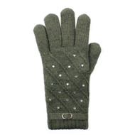 G5222  Rhinestone Studded Fashion Double Layer Plush Lined Gloves  