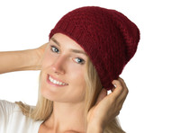 Wholesale Beanie Hats: H5218 Slouchy Mid-Weight Fall Winter Ringlet Knit Beanie Burgundy