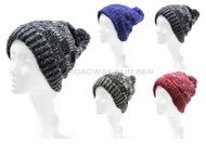 Wholesale Winter Hats H5230  Honeycomb Knit Beanie Hat with Pom Pom Pre-Assorted Wholesale Dozen Black, Blue, Brown, Red