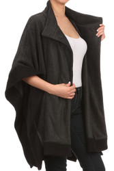 S1323  Winter Contrast Edge Fleece Cape Poncho With Buttons Gray