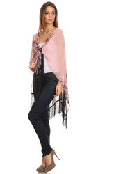 S6014 Women's Pink Ombre Open Poncho Shawl with Fringe