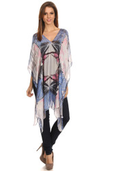 S6020 Women's Midi Butterfly Print Pullover Silk Blend Caftan Mantle Poncho