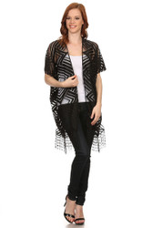S6022 Women's Geo Modern Lace Poncho Vest with Fringe  Black