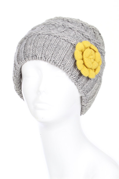 H5245 - Ladies' Double Layer Chunky Knit Winter Hat with Contrast Flower Gray and Yellow