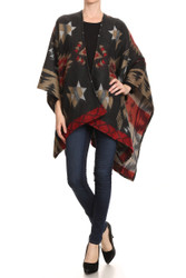 S6205 - Women's Tribal Pattern Open Winter Blanket Poncho