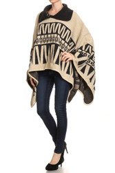 S6301 Heavy Wool-Feel Button Collar Winter Pullover Poncho Coat Beige