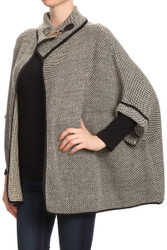S6303 Tweed 3/4 Sleeve Batwing Cape Poncho with Metal Clasp Beige