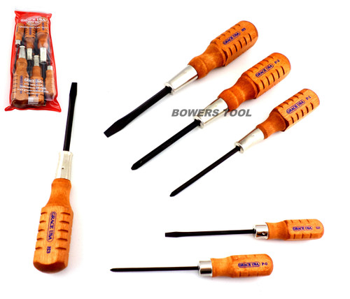 grace usa 6pc home care wood handle screwdriver set made in usa. Black Bedroom Furniture Sets. Home Design Ideas