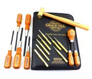 Grace USA 17pc Gunsmith Set Screwdrivers Brass Punches & Hammer Gun Care GCT-17