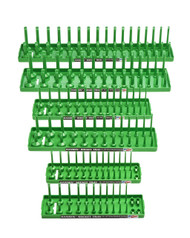 "Hansen 6pc Socket Organizer Tray Rack Holder Metric SAE 1/4"" 3/8"" 1/2"" Green"