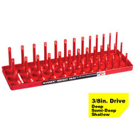 "Hansen 3/8"" Socket Tray Organizer Holder 3 Row Standard SAE Shallow, Deep USA"