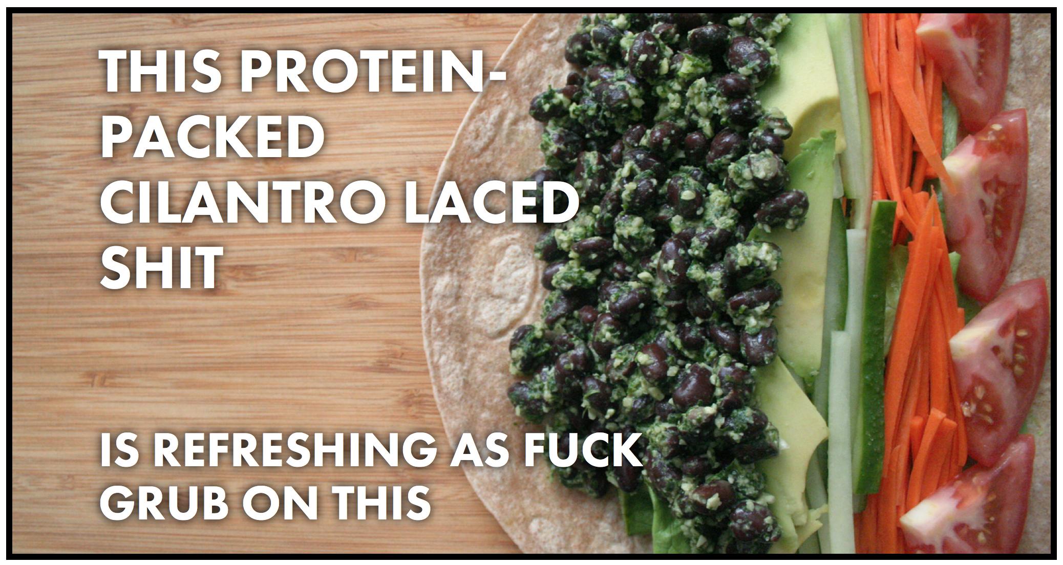 Black bean and cilantro pesto wrap from Thug Kitchen