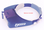 SEYCO'™S LED Lighted Head Magnifier. Easily adjusts to fit your head for maximum comfortability. Includes removable (and movable) LED light and adjustable lens. The lighted head magnifier can be adjusted to magnify at 1.5X, 3X, 8.5X and 10X by combining the lenses in different configurations. While great for scrolling, the portability of this unit will enable you to find dozens of uses for this very practical reasonably priced unit. Includes 2 - AAA batteries.