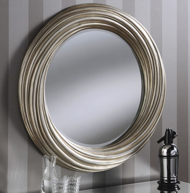 Adele Large Round Modern Wall Mirror Silver Frame Art Deco