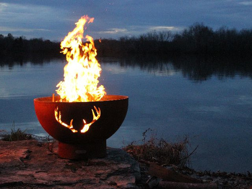 Antlers - Fire Pit Art by the lake night time image