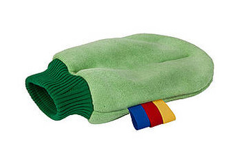 Characteristics: high dirt-absorbing capacity; multi-functional use; efficient use because of color coding.  The microfiber Greenspeed® Original Glove is a handy tool for local cleaning. This glove consists of green Original microfiber cloth material. This means that it removes dust and dirt just as fast and effectively as the Original microfiber cloth, thanks to the unique cleaning and absorbing capacities.  The Original glove is pleasant to use, thanks to the green 'stretch'- border. This makes the glove fit around the wrist, so it does not slide off the hand while working. The stitching around the fingers enables a squeezing motion. Due to the colored coding labels this glove can be used hygienically and efficiently. For any job, choose the correct Greenspeed® Glove: Original or Scrub.