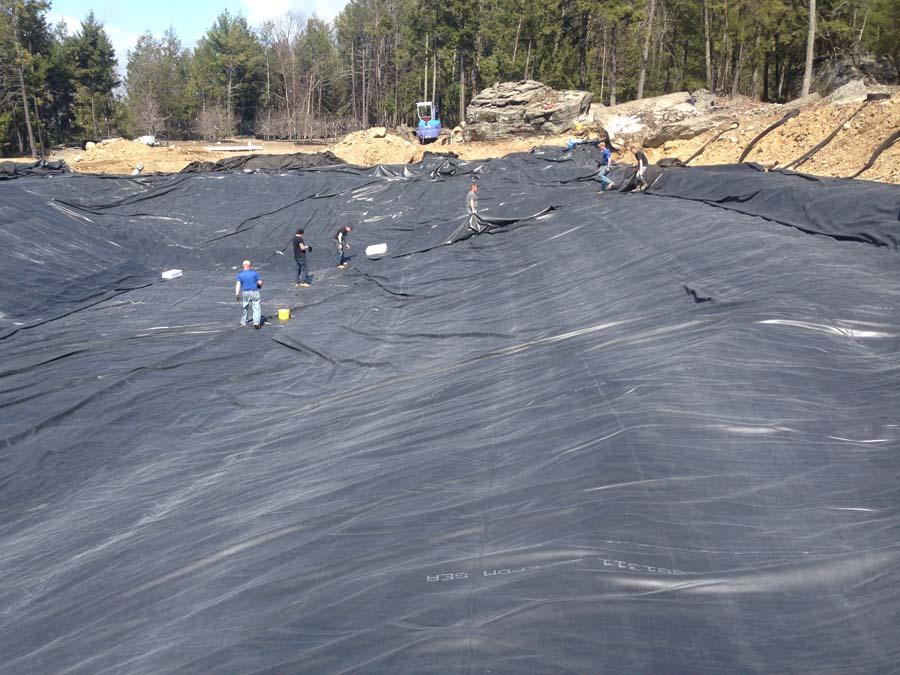 New york pond construction for Pond liner installation