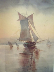 "IKM SIGNED WATERCOLOR CA 1900 ""SAILING SHIPS"" OLD GOLD FRAME STUNNING"