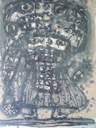 """AKIRA KITO LITHOGRAPH """"ENFANT"""" MOURLOT CUSTOM FRAMED 1964 MODERNIST"""