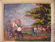 """THE BOCCE PLAYERS"" ACRYLIC PAINTING ON CANVAS AVRAM SHAPIRO EXCELLENT"