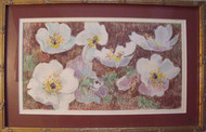 "MYRA MANNER OIL PASTEL ""FLOWERS"" CUSTOM GOLD FRAMED CA 1970"