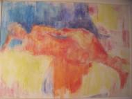 """MYRA MANNER OIL PASTEL """"RECLINING NUDE"""" CUSTOM GOLD FRAMED CA 1970"""