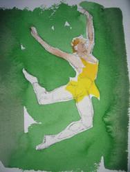 "RICHARD AHR 1929-2012 NEW YORK CITY "" DANCER""  WATERCOLOR"