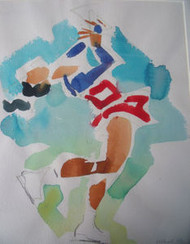 "RICHARD AHR 1929-2012 NEW YORK CITY "" ICE SKATER""  WATERCOLOR PENCIL SIGNED"