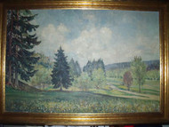 """NATURE VIEW"" OIL CA 1920'S SIGNED LOVELY GOLD FRAME FR ASBURY PARK NJ COOKMAN A"