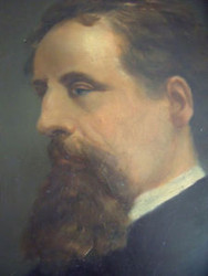 """MAN IN PROFILE"" OIL ON BOARD CA 1890 ORIGINAL GOLD FRAME UNDER GLASS LOVELY"