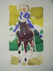 "RICHARD AHR 1929-2012 NEW YORK CITY ""BAREBACK"" EQUESTRIAN HORSE WATERCOLOR"