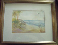 L. MEADE FLORIDA SMALL WATERCOLOR LOVELY GOLD FRAME