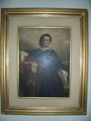 "1857 LOUIS-EDOUARD DUBUFE STONE LITHO ""PORTRAIT OF ROSA BONHEUR""  GOLD GILT FR"