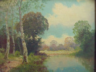 NEWMAN GALLERIES OLD LANDSCAPE OIL PAINTING SIGNED WALDRON GOLD FRAME EARLY 20C
