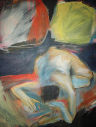 GRUMBY REFLECTIONS CA 1960'S NYC NUDE RECLINING OIL ON CANVAS PAINTING SIGNED