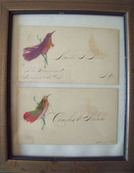 PAIR CALLING CARDS C1900 GOLD FRAME HAND WRITTEN THE TROWMART NY HUDSON & 12TH