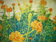 RICHARD KARWOSKI LISTED AMER NY MARIGOLD GARDEN LITHOGRAPH SIGNED NUMBERED 1981