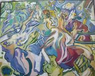 HOUSE ON THE HILL JANOS GELENCSEK HUNGARIAN (1960-) ACRYLIC ARTIST SELF FRAMED