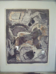 PENCIL SIGNED PERI 68 LITHOGRAPH LINEN MAT ABSTRACT ORIGINAL FRAME