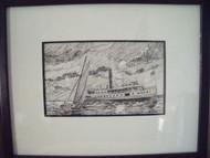 ROBERT T. HORVATH EASTERN SHORE TWO SHIPS PEN AND INK CUSTOM BLACK FRAMED