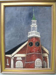 VIRGINIA B. STOFFLET STEEPLE CLOCK 1951 OIL CUSTOM GOLD FRAME