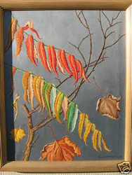 ULA PAINE LISTED FALLING LEAVES OIL 1972